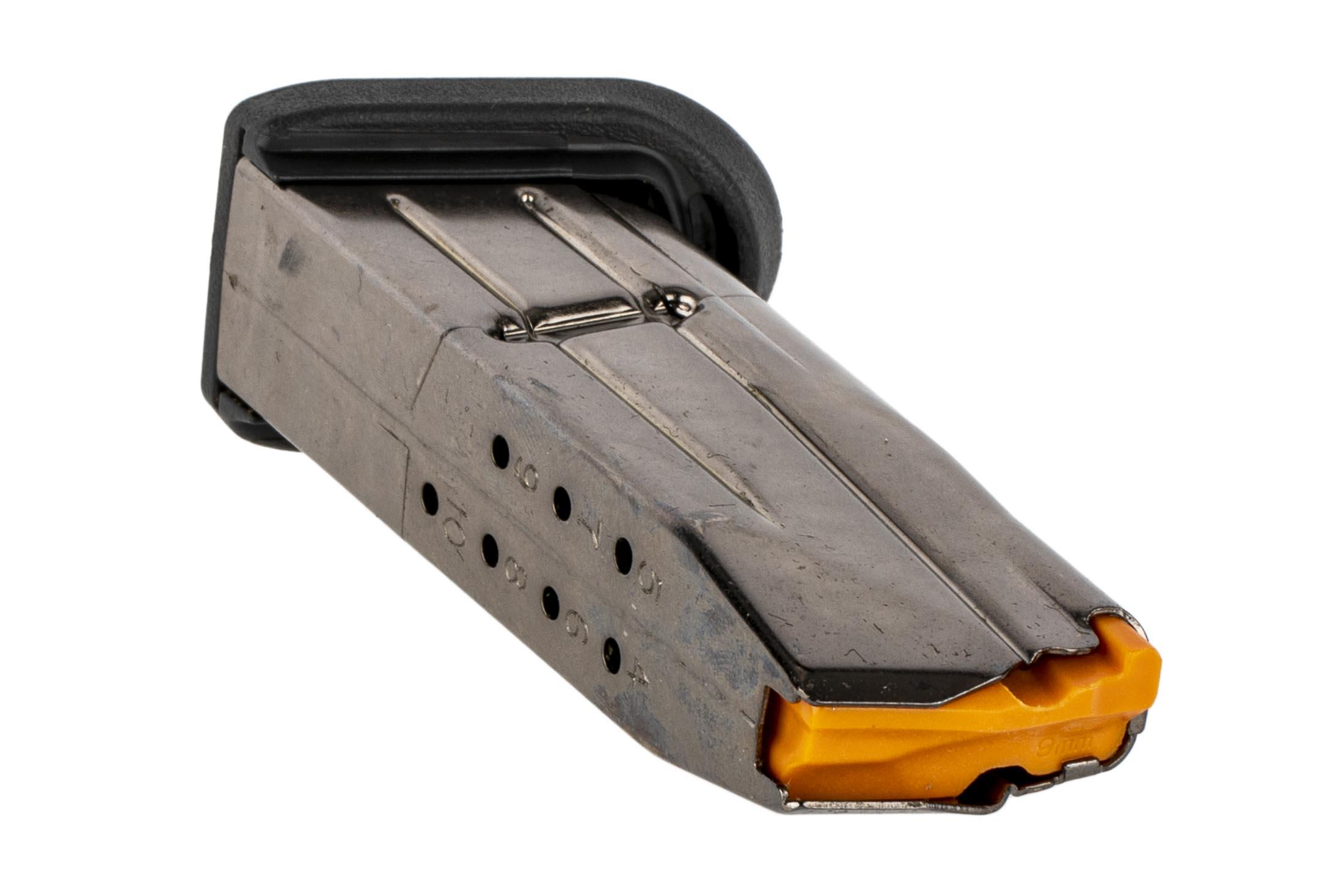 The FN FNS-9C 10 round magazine features rear witness holes to check ammo count