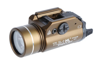 The Streamlight TLR-1 HL weapon light features a desert dirt anodized finish