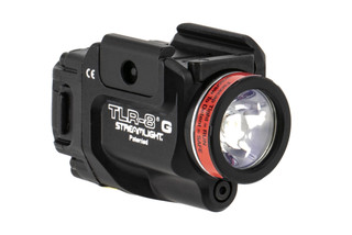 The TLR-8 weapon light with green laser features a low-profile design that resists snagging