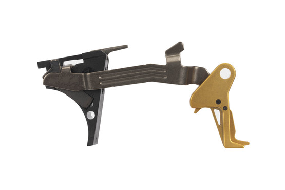 CMC Triggers Drop-In Glock 42 trigger features a flat bow for enhanced trigger feel and an eye-catching gold trigger.