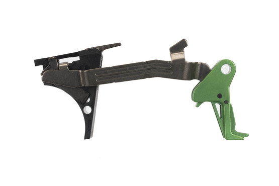 CMC Triggers Drop-In Glock 43 trigger features a flat bow for enhanced trigger feel and an eye-catching green trigger.