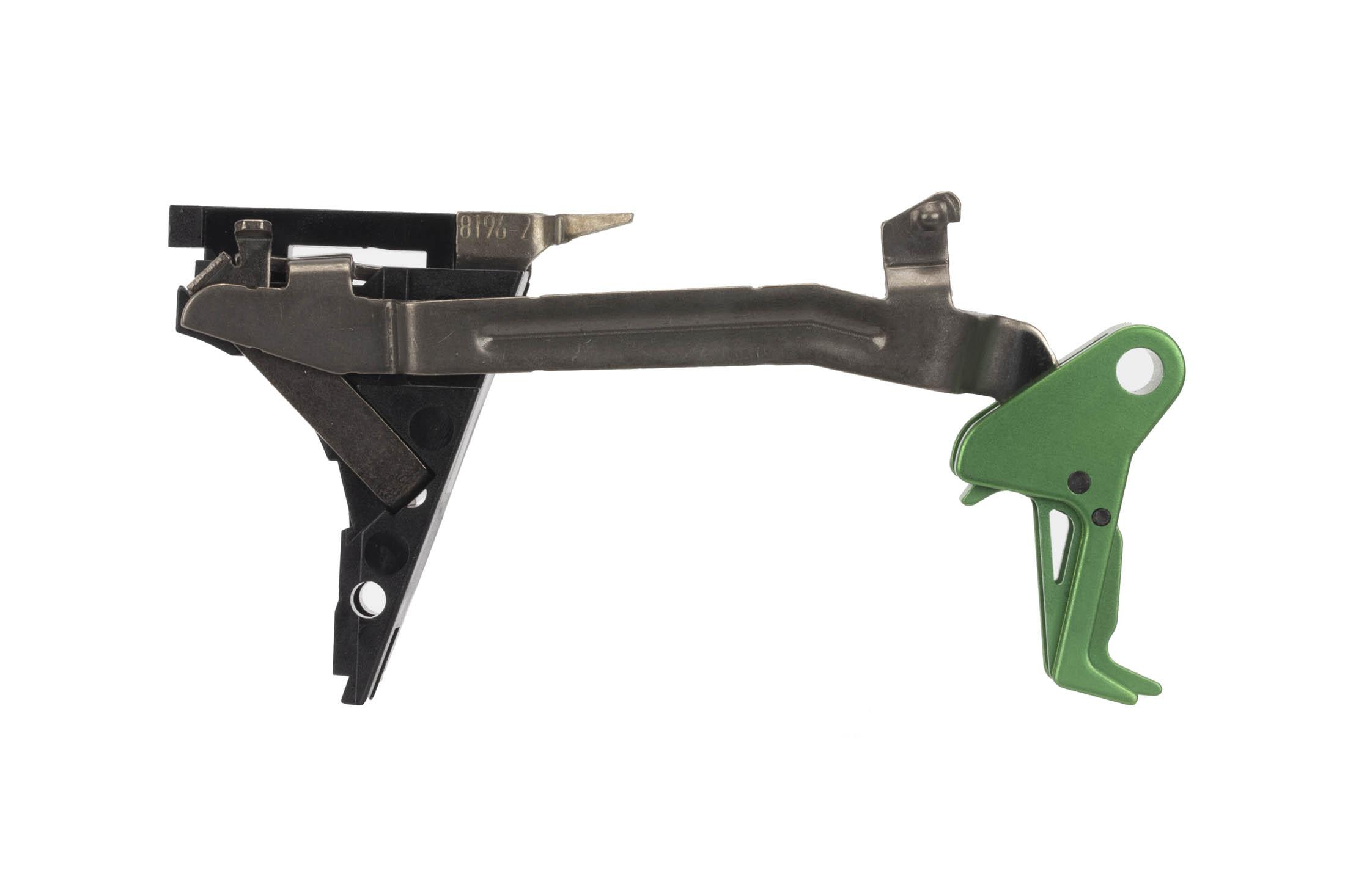 CMC Triggers Drop-In Glock Gen 1-3 .45 ACP trigger features a flat bow for enhanced feel and an eye-catching green trigger.
