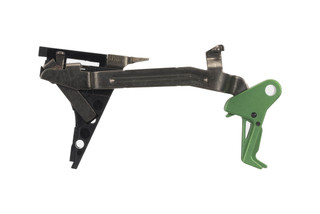 CMC Triggers Drop-In Glock Gen 4 .45 ACP trigger features a flat bow for enhanced feel and an eye-catching green trigger.