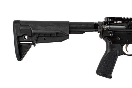 "Bravo Company Manufacturing RECCE-16 M-LOK 16"" rifle features a BCM stock, grip, and QD sling end plate."