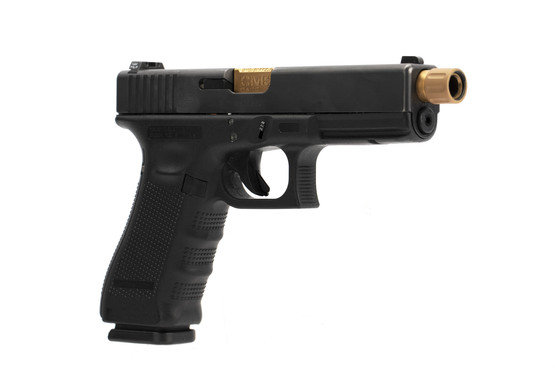 CMC Triggers threaded fluted 9mm Glock 17 barrel installs easily and has an eye catching TiCN bronze finish