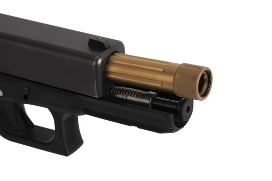 CMC Triggers fluted 9mm threaded Glock G17 barrel with Titanium Carbo-Nitride bronze finish includes a thread protector