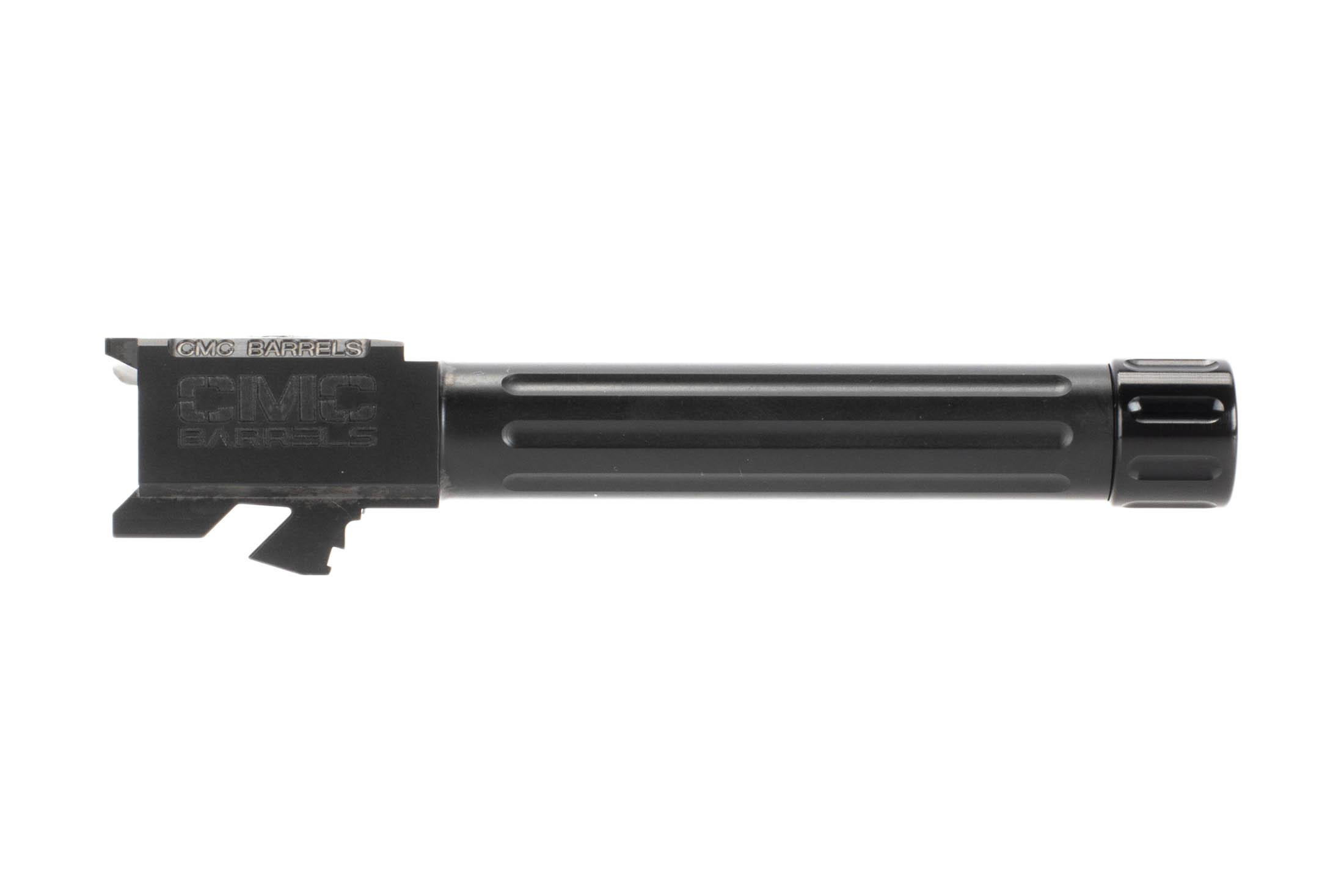 CMC Triggers threaded fluted Glock 19 barrel with black DLC finish drops directly into standard Glock pistols.
