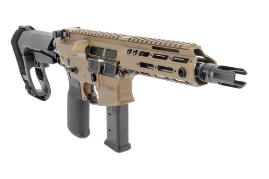 Christensen Arms CA9mm AR15 pistol features a 3 prong flash hider
