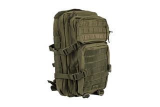 The Red Rock Outdoor Gear Assault pack OD Green features Velcro and MOLLE webbing
