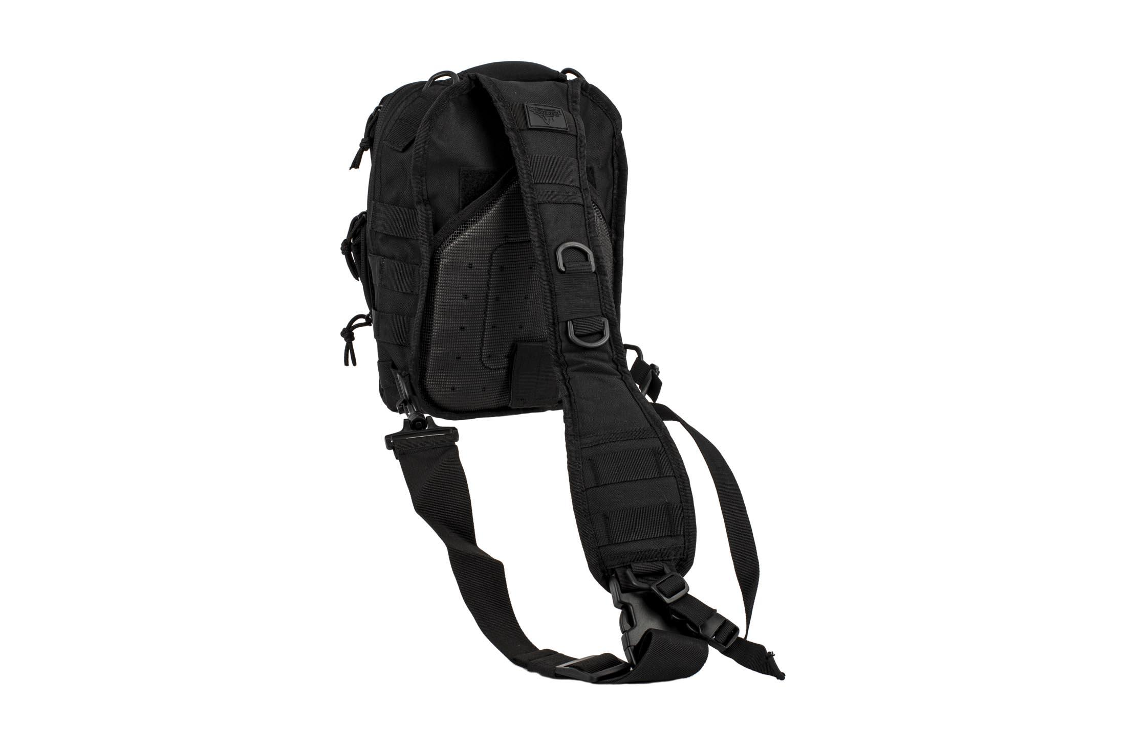 The Red Rock Outdoors Rover Sling Backpack features MOLLE webbing and breathable mesh material