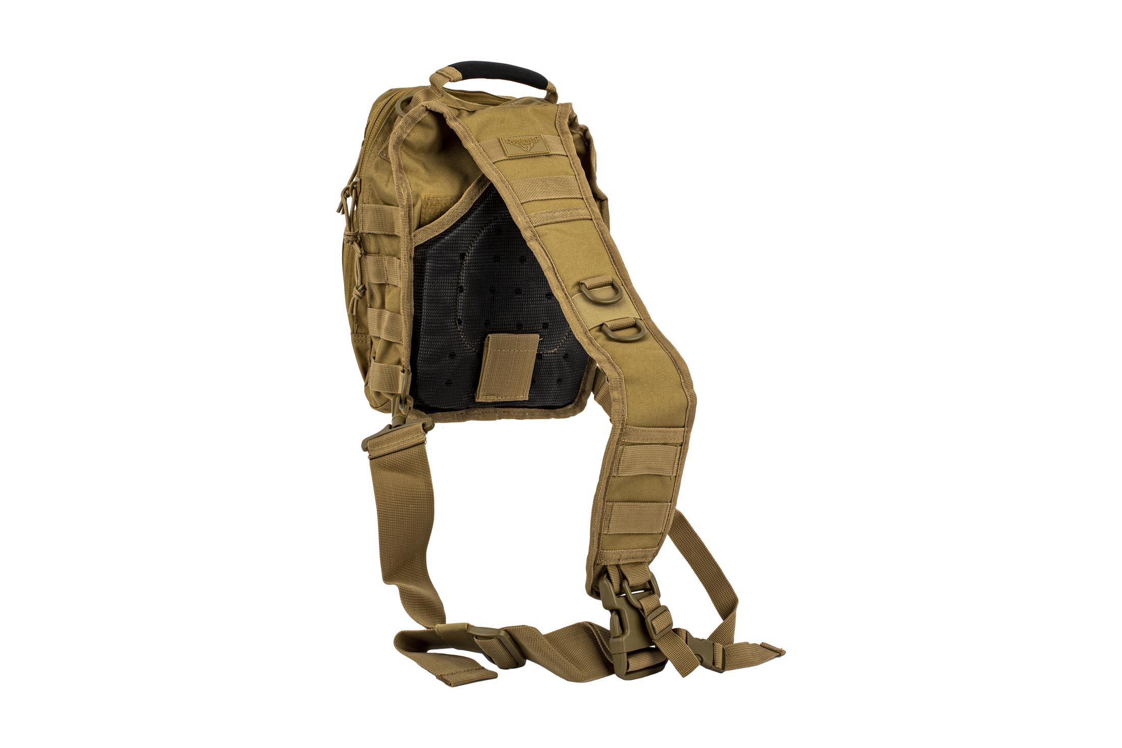 The Red Rock Gear Rover Sling Backpack features breathable mesh material