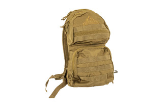 The Red Rock Outdoor Gear Cactus Hydration Pack comes in coyote brown and features MOLLE webbing