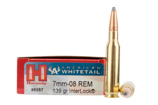 Hornady American Whitetail 7mm-08 Rem 139gr InterLock Ammo comes in a box of 20 rounds