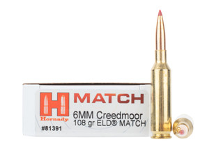 Hornady match 6mm creedmoor ammo is loaded with a 108gr eld bullet