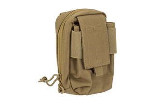 The Red Rock Outdoor Gear Media Pouch is compatible with MOLLE and is made from coyote brown nylon