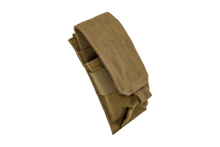 The Red Rock Outdoor Gear Single Rifle Magazine Pouch is MOLLE compatible and Coyote Brown