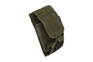 The Red Rock Outdoor Gear MOLLE Single Rifle Magazine Carrier is made from durable OD Green Nylon