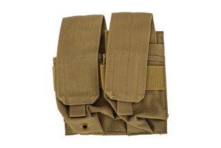 The Red Rock Outdoor Double Rifle Magazine Carrier is compatible with MOLLE and made from coyote brown Nylon