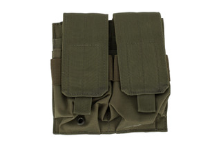 The Red Rock Outdoor Double Rifle Magazine Pouch is compatible with MOLLE and made from OD Green Nylon