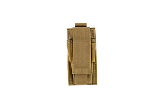 The Red Rock Outdoor Gear Single Pistol Magazine Pouch in Coyote Brown is compatible with MOLLE webbing