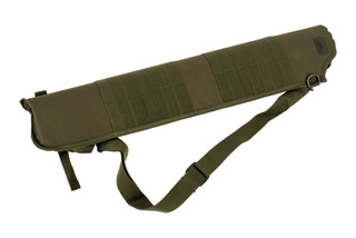 The Red Rock Outdoor Gear MOLLE Shotgun Scabbard features an Olive Drab Green color