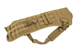 The Red Rock Outdoor Gear Rifle Scabbard in Coyote Brown is compatible with MOLLE webbing