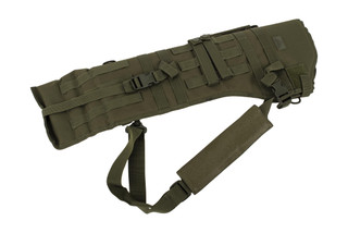 The Red Rock Outdoor Gear OD Green Rifle Scabbard features MOLLE compatible webbing