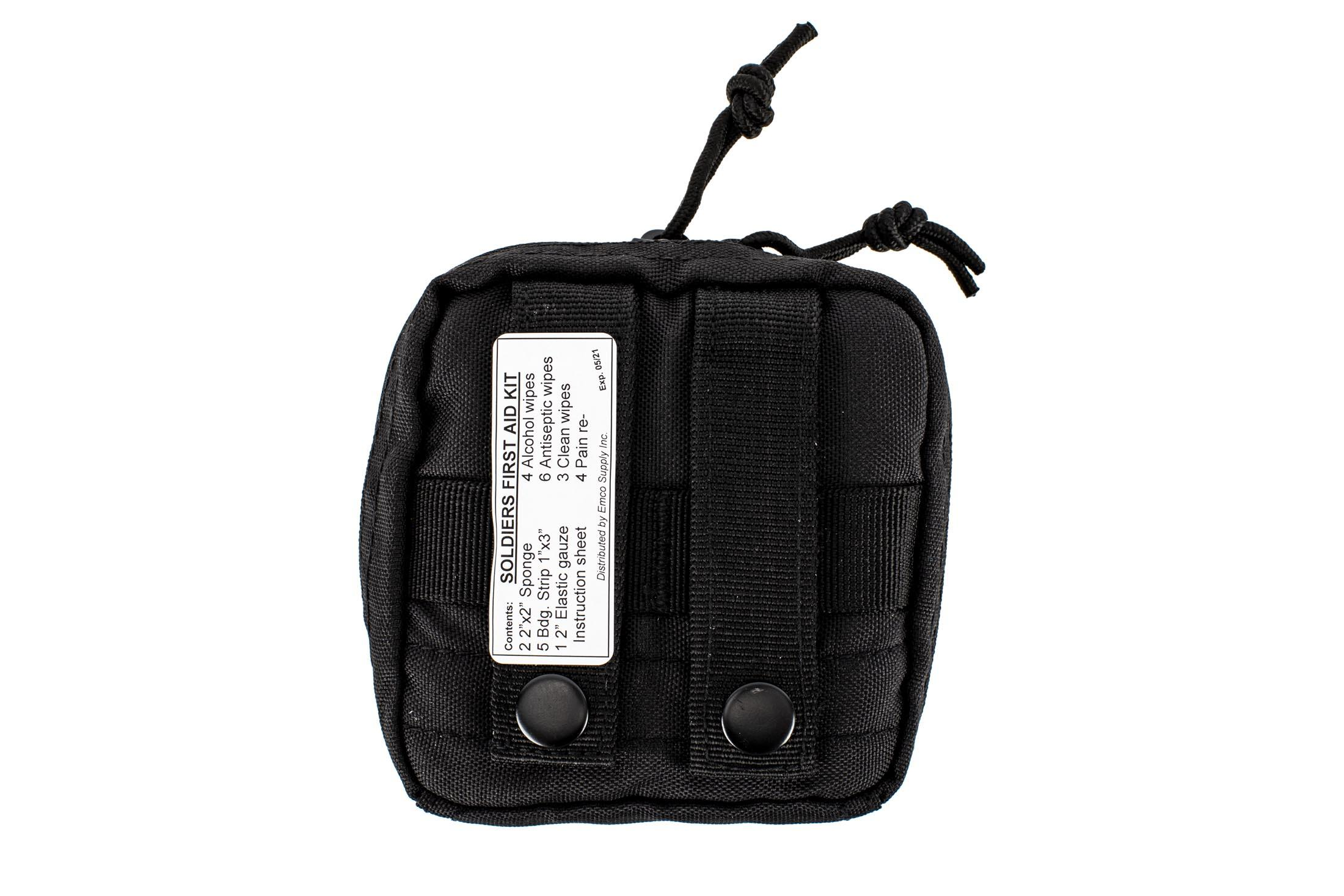The Red Rock Outdoors Individual first aid kit is compatible with MOLLE webbing attachments