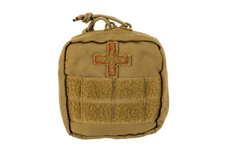 The Red Rock Outdoor Gear Individual Soldier First Aid Kit in Coyote Brown is made from durable 600D Nylon