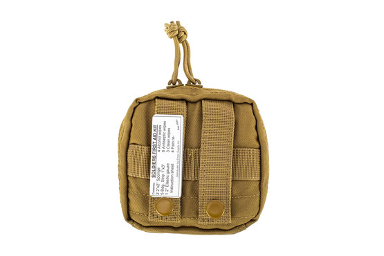 The Red Rock Gear Individual First Aid Kit Coyote Brown is compatible with MOLLE webbing