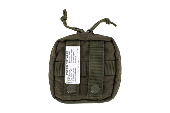 The Red Rock Outdoors Soldier First Aid Kit OD Green is compatible with MOLLE webbing