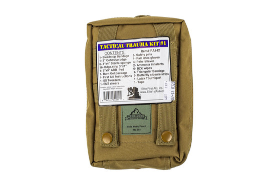 The Red Rock Outdoors Medical Kit Coyote Brown comes in a Nylon MOLLE compatible pack