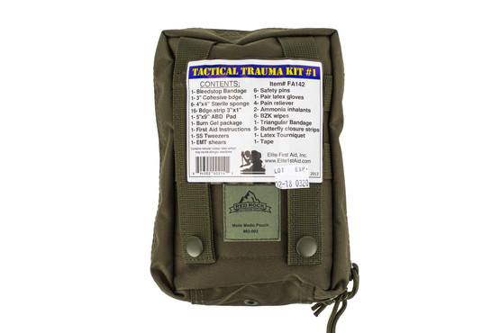 The Red Rock Outdoors Tactical Medical Kit comes with all the supplies you need to treat trauma wounds