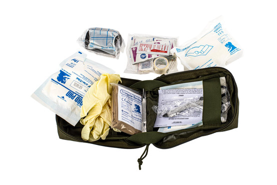 The Red Rock Gear OD Green Trauma Kit opens up for easy access to the contents