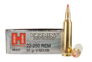 Hornady Varmint Express 22-250 Rem 55gr V-Max Ammo comes in a box of 20 rounds
