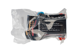 The North American Rescue Individual First Aid Kit comes vacuum sealed and ready to put in your range bag