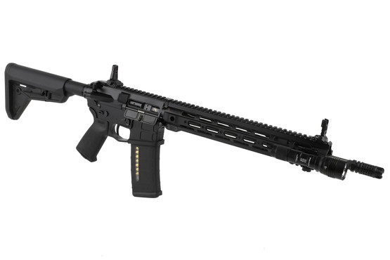 The Streamlight ProTac Rail Mount HL-X light attached to an AR15 rifle