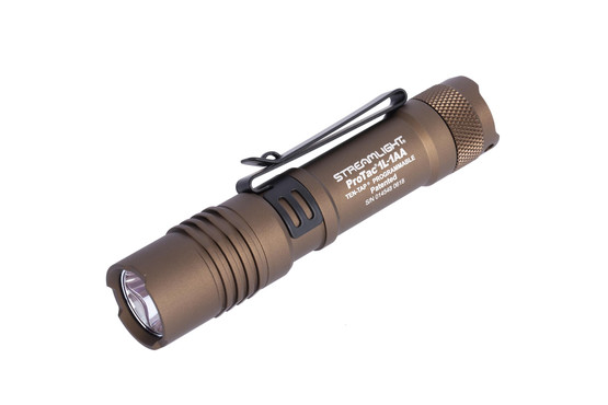Streamlight ProTac 1L-1AA handheld 350 lumen tactical flash light with coyote finish can be powered by CR123A or AA batteries