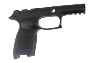 Sig Sauer small carry black grip with manual safety for P250 / P320 9mm has a durable polymer frame