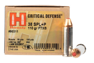Hornady Critical defense 38 Special +P ammo is loaded with a flex tip bullet