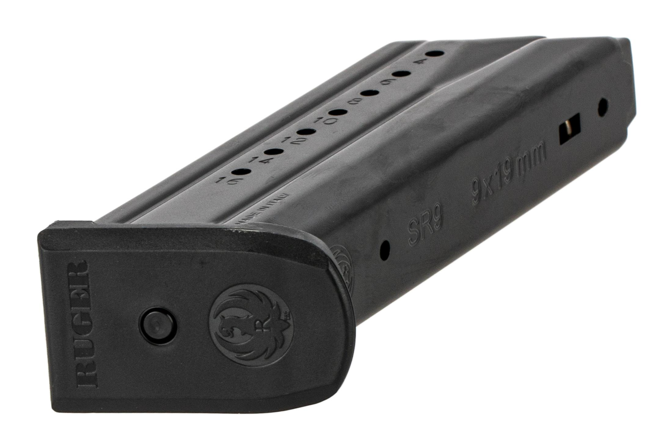 The Ruger SR9 17 round magazine features a flush fit polymer base pad