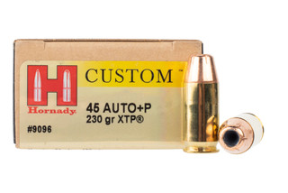 Hornady Custom 45 ACP +P ammo is loaded with the XTP hollow point bullet