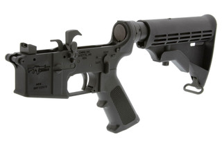 The CMMG AR9 complete 9mm lower receiver with M4 stock is designed for colt pattern magazines