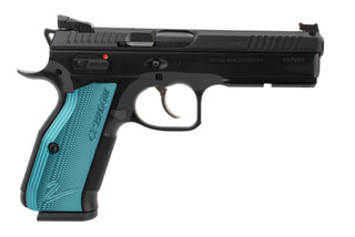 CZ Shadow 2 9mm pistol features blue anodized grips