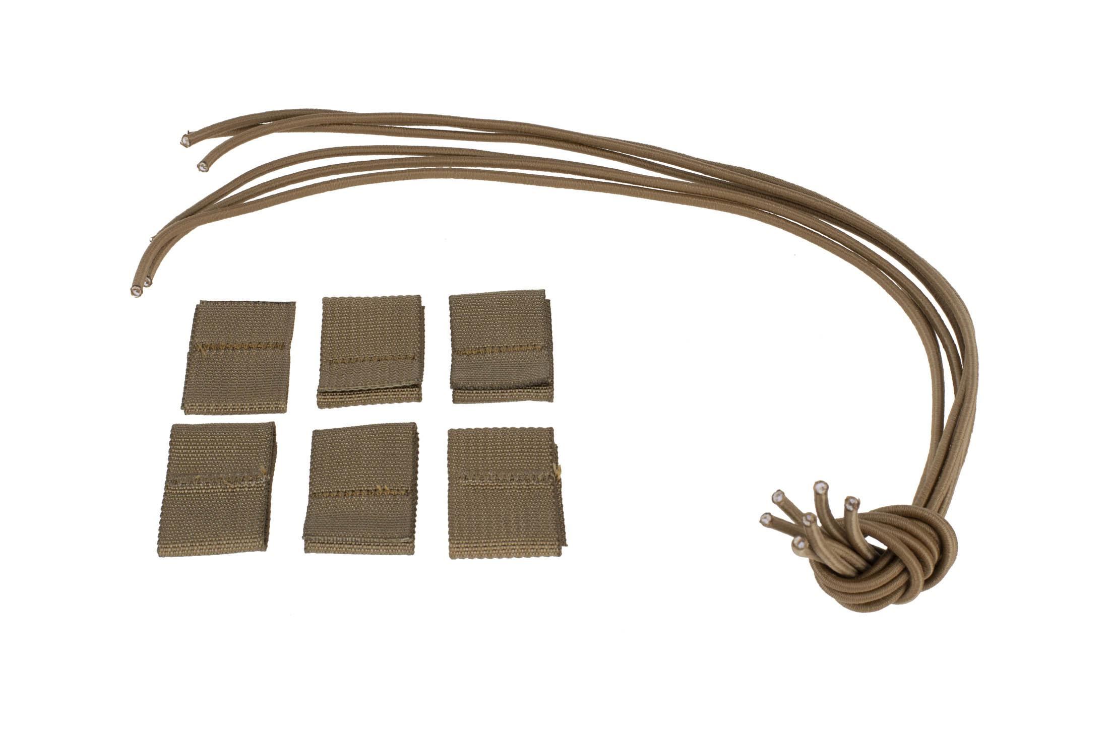 High Speed Gear Bungee Replacement Kit includes six nylon stoppers and bungee straps, coyote brown and coyote brown.
