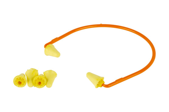 The Peltor Sport Banded Ear Plugs hearing protection comes with two pairs of replacement foam tips