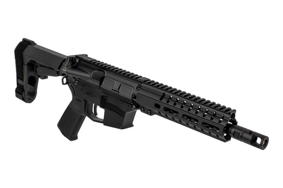 The CMMG MkGs Banshee 200 9mm AR pistol is Glock compatible and comes with an RML M-LOK handguard