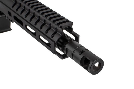 The CMMG Banshee MkGs 200 9mm AR15 pistol features a muzzle brake attached with 1/2x28 threads