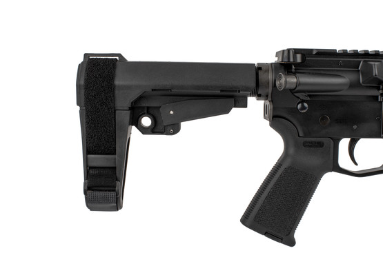 The CMMG Banshee 9mm AR pistol with RipBrace comes with a magpul MOE pistol grip