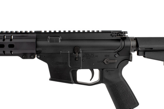 The CMMG Banshee MkGs 200 ar pistol 9mm is compatible with standard AR15 lower parts